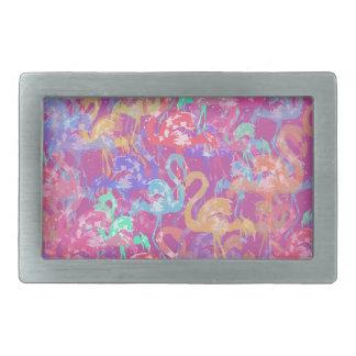 Flamingo pattern rectangular belt buckle