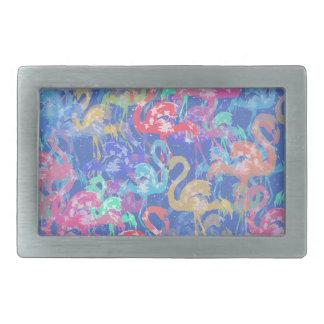 Flamingo pattern rectangular belt buckles