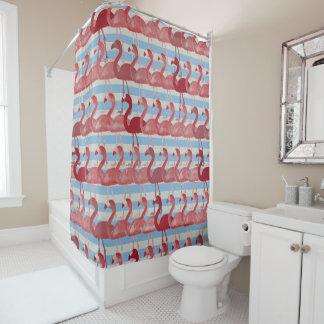 Flamingo Pattern Shower Curtain (RedBlue)