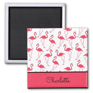 Flamingo Pattern Square Magnet