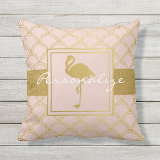 Flamingo Pink and Faux Gold Retro Modern Outdoor Outdoor Cushion