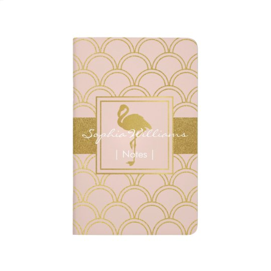 Flamingo Pink and Faux Gold Retro Pattern Modern Journal