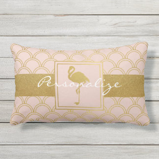Flamingo Pink and Faux Gold Retro Pattern Outdoor Lumbar Cushion