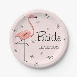 Flamingo Pink Bride and Date paper plate