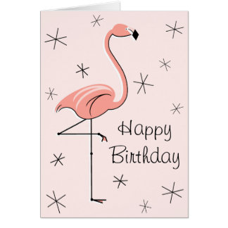 Flamingo Pink Happy Birthday front text vertical Card