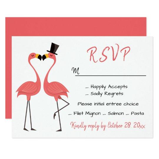 Flamingo Pink RSVP Wedding Tropical Luau Beach Card