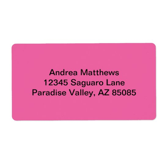Flamingo Pink Solid Colour Shipping Label