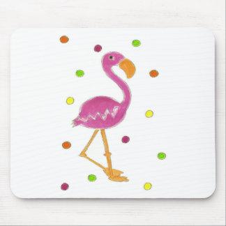 Flamingo Polka Dots Mouse Pad