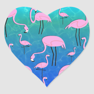 Flamingo Pond Heart Sticker