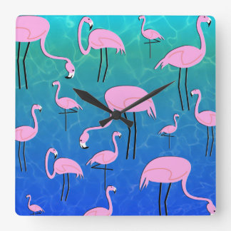Flamingo Pond Square Wall Clock