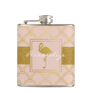 Flamingo Retro Pink and Faux Gold Vintage Flask