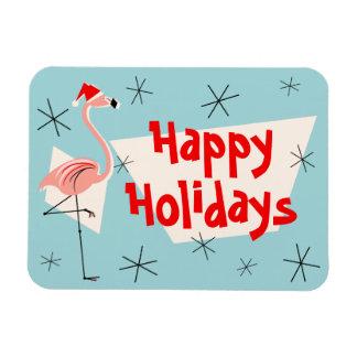 Flamingo Santa Blue Happy Holidays flexible Rectangular Photo Magnet