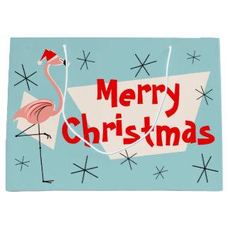 Flamingo Santa Blue Merry Christmas large gift bag