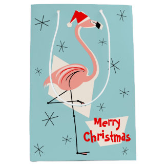 Flamingo Santa Blue Merry Christmas medium Medium Gift Bag