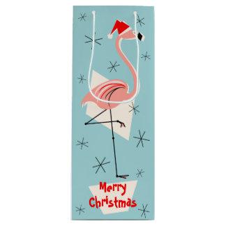 Flamingo Santa Blue Merry Christmas wine Wine Gift Bag