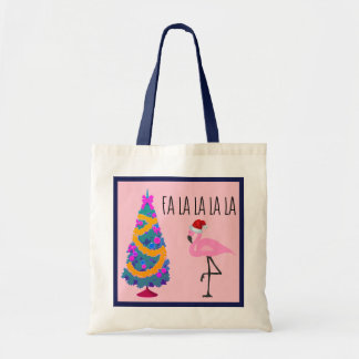 Flamingo Santa Christmas Tote
