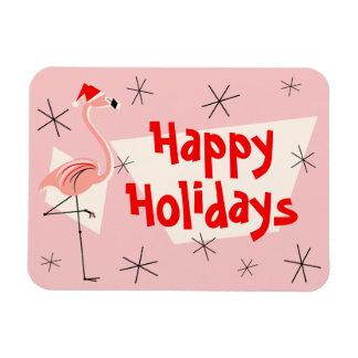Flamingo Santa Pink Happy Holidays flexible Rectangular Photo Magnet