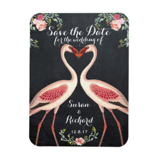 Flamingo save the date chalkboard magnet