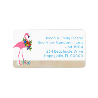 Flamingo Seaside Living Holiday Address Label