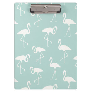 Flamingo Silhouettes, Pattern Of Flamingos - Blue Clipboard