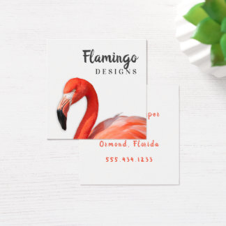 Flamingo Square Modern Double Sided Business Cards