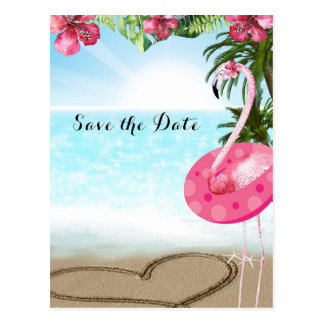 Flamingo Summer POOL PARTY Beach Save the Date Postcard