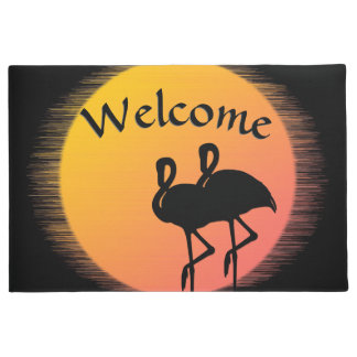 Flamingo Sunset Welcome Mat