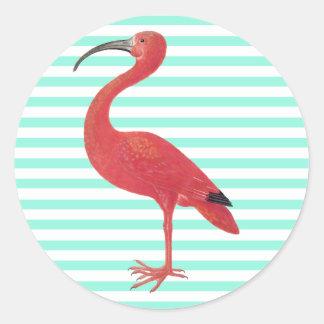 Flamingo & Teal stripes - Fine Art Sticker