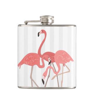Flamingo Trio and Stripes Hip Flask