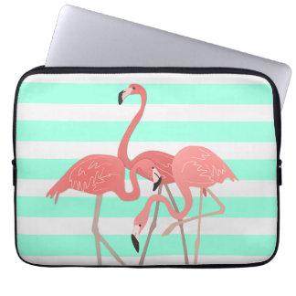 Flamingo Trio on Stripes Laptop Sleeve