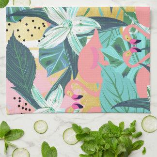 Flamingo Tropical Tea Towel