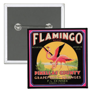 Flamingo Vintage Fruit Crate Label Button Pin