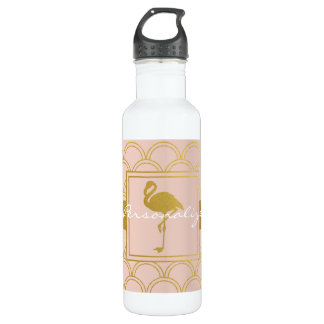 Flamingo Vintage Pink and Faux Gold Personalized 710 Ml Water Bottle