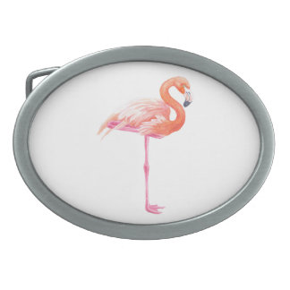 Flamingo watercolor oval belt buckle