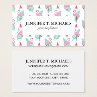 Flamingo & Watermelon Pastel Pattern Business Card