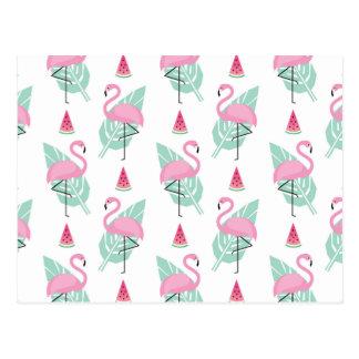 Flamingo & Watermelon Pastel Pattern Postcard