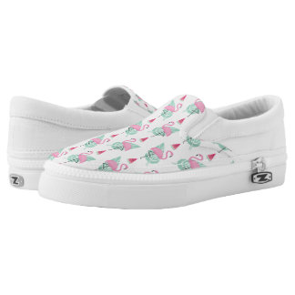 Flamingo & Watermelon Pastel Pattern Slip-On Shoes
