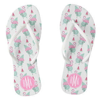 Flamingo & Watermelon Pastel Pattern Thongs