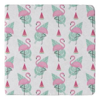 Flamingo & Watermelon Pastel Pattern Trivet