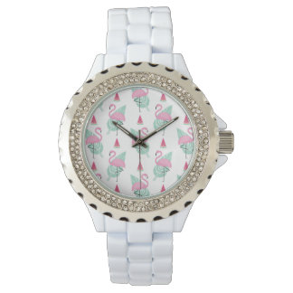 Flamingo & Watermelon Pastel Pattern Watch
