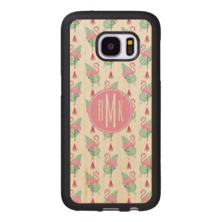 Flamingo & Watermelon Pastel Pattern Wood Samsung Galaxy S7 Case