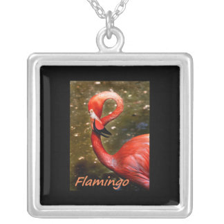 "Flamingo with ""flamingo"" pink text square pendant necklace"