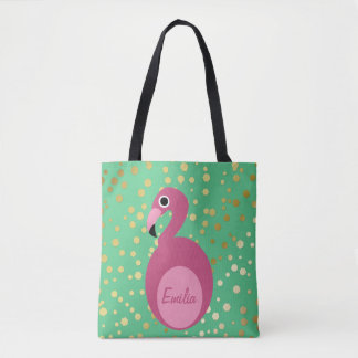 Flamingo with Gold Glitter All-Over-Print Tote Bag