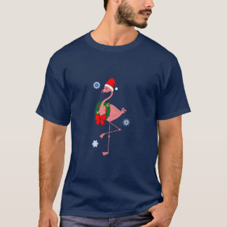 Flamingo with Santa Hat and Christmas Wreath T-Shirt