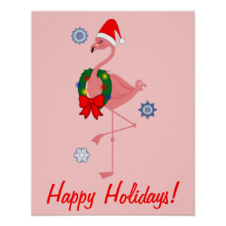 Flamingo with Santa Hat and Wreath Posters