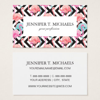 Flamingoes on Bold Design Pattern Business Card