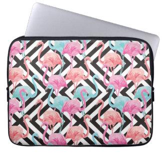Flamingoes on Bold Design Pattern Laptop Sleeve