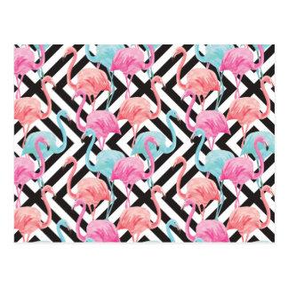 Flamingoes on Bold Design Pattern Postcard