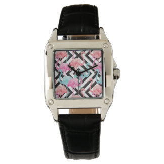 Flamingoes on Bold Design Pattern Watch