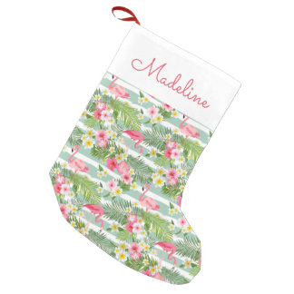 Flamingos And Stripes | Add Your Name Small Christmas Stocking